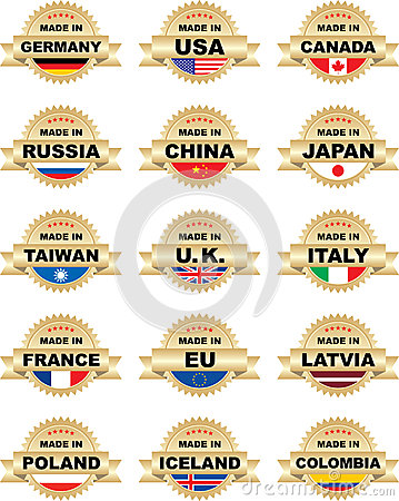 Free Labels MADE IN With Different Countries Royalty Free Stock Images - 28401469
