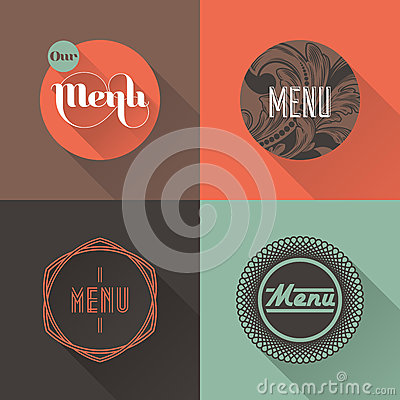 Labels for restaurant menu design. Vector illustration