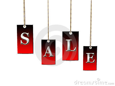 Labels with sale on white background. 3D image