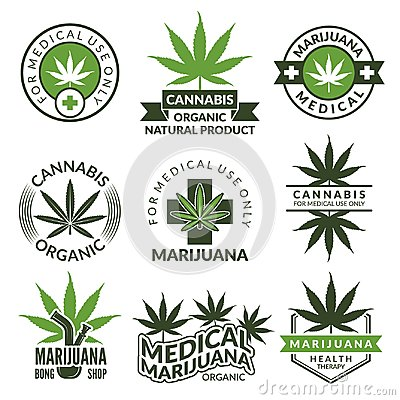 Free Labels Set With Different Pictures Of Marijuana Plants. Medical Herbs, Cannabis Leaf Stock Photography - 107415282