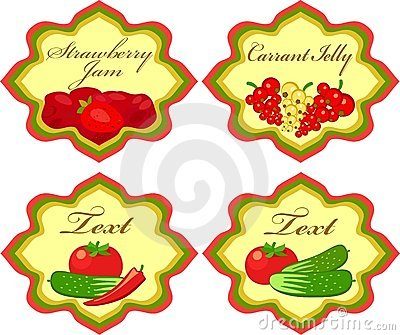 Labels with vegetables and berries