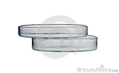 Laboratorio. placa de Petri. Cristalería de laboratorio en un fondo