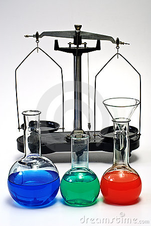 Laboratory balance and glassware