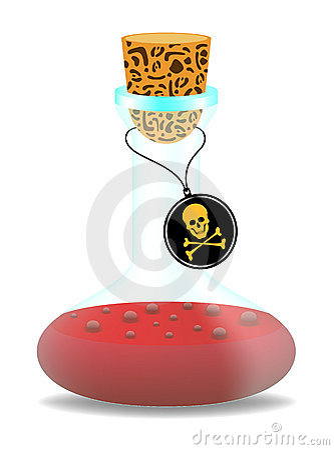 Laboratory bottle with danger sign (skull symbol)