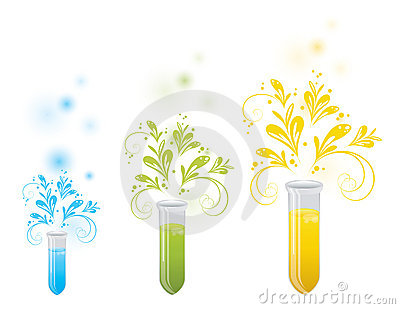 Laboratory bottles with floral elements