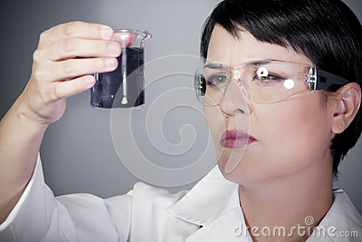 Laboratory female personel on research