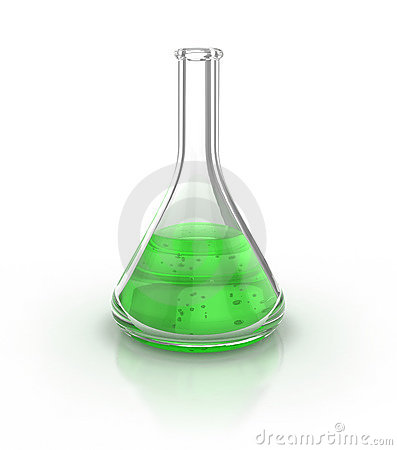 Laboratory glassware filed with green liquid