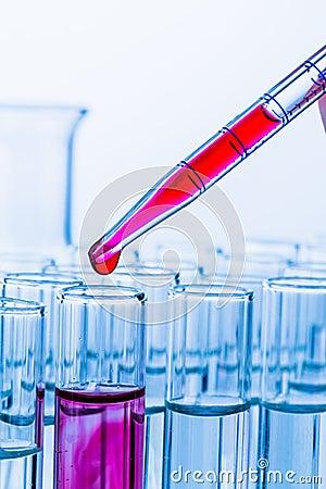 Laboratory glassware in the laboratory experiment