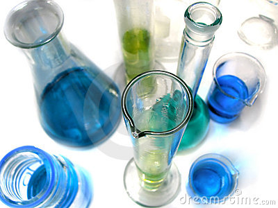 Laboratory glassware on white