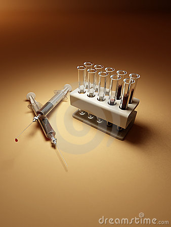 Laboratory. Syringes with blood and many flacks