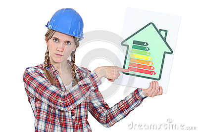 Laborer with energy efficiency chart