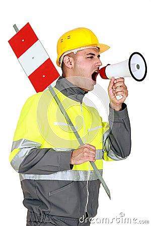 Laborer screaming