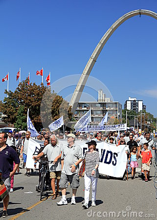 Laborers Marching in Toronto Editorial Stock Photo