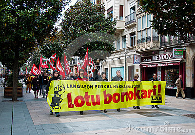 Labour day demonstration in Vitoria-Gasteiz Editorial Photography