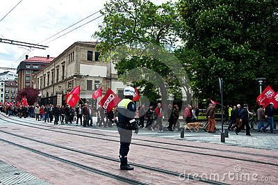 Labour day demonstration in Vitoria-Gasteiz Editorial Stock Photo