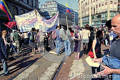 Labour day political protest parade, Milan Editorial Photo