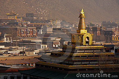 Labrang Monastery in Gansu Province China Gong Tan Editorial Stock Image