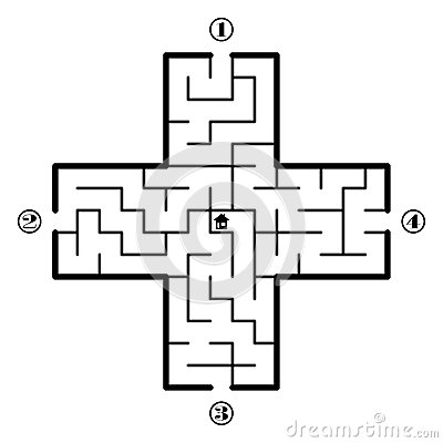 Stock Illustration Labyrinth Find Way To Home Center Four Entrances One Correct Path Vector Illustration White Background Image57608602