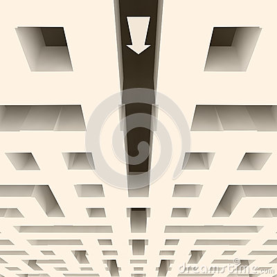 Labyrinth symmetrical structure with arrow direction down