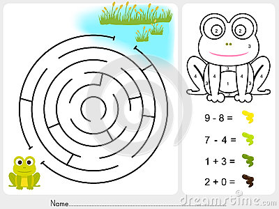 labyrinthspiel farbenfarbe durch zahlen arbeitsblatt f r bildung vektor abbildung bild. Black Bedroom Furniture Sets. Home Design Ideas