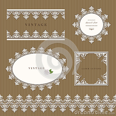 Lace decorative frame and border set. Lacy doilies. Wedding, birthday, baby shower, scrapbook design. Vector Illustration