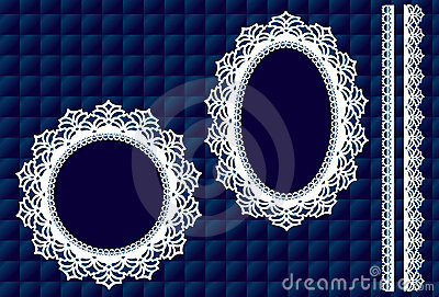 Lace Doily Frames, Quilted Blue Background