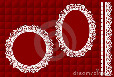 Lace Frames on Red Quilted Background
