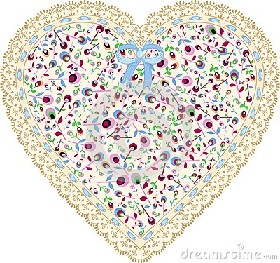 Lace heart cloth patch