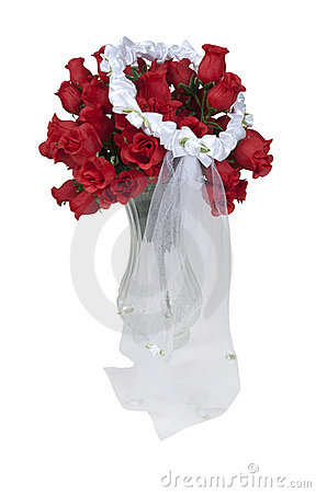 Lace Veil on a Bouquet of Red Roses