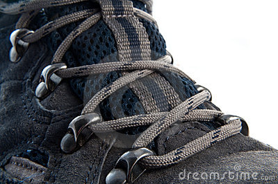 Laced walking boot.