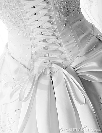 Laces on back of wedding dress