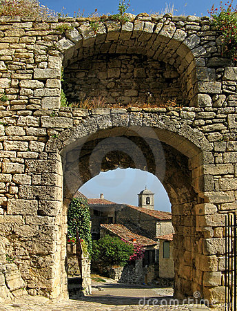 Lacoste, France, through archway