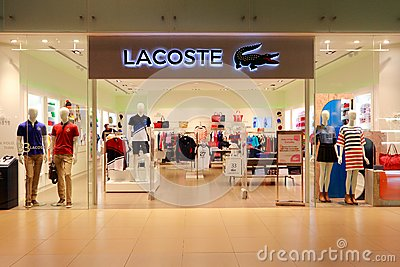 Lacoste Shoe in store shelf, Lacoste is a French clothing company