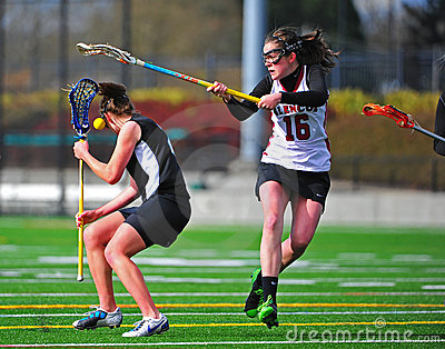 Lacrosse girls check Editorial Photo