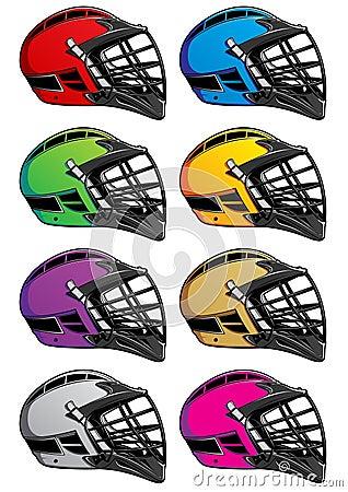 Lacrosse Helmets Icons EPS