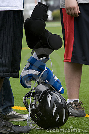 Lacrosse stick and gear