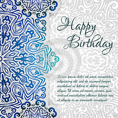 Free Lacy Ethnic Vector Happy Birthday Card Template. Romantic Vintage Invitation. Abstract Grunge Circle Floral Ornament Stock Photo - 42791820