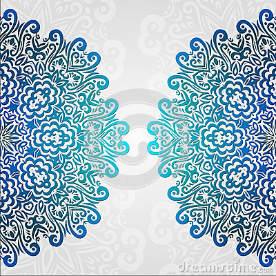 Free Lacy Ethnic Vector Photo Frame. Abstract Grunge Circle Floral Ornament Stock Photography - 42792042