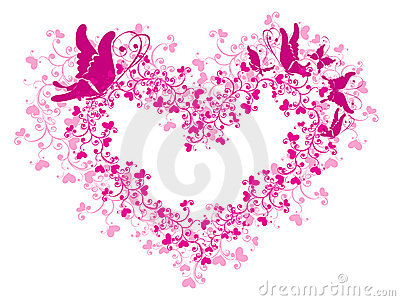 Lacy heart and butterfly. Vector illustration