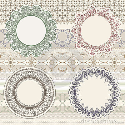 Lacy napkins on seamless pattern