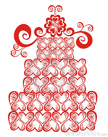 Lacy wedding cake. Vector illustration