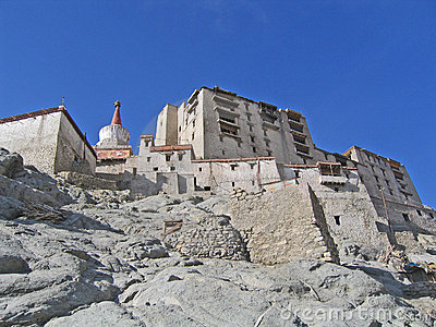Ladakh, capital Leh, the house in a rock.