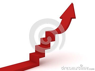 Ladder arrow success concept