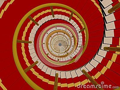 Ladder in a carpet going downwards.