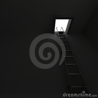 Ladder in darkness