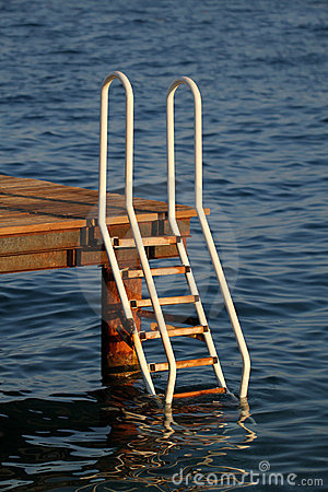 Ladder leading into the sea