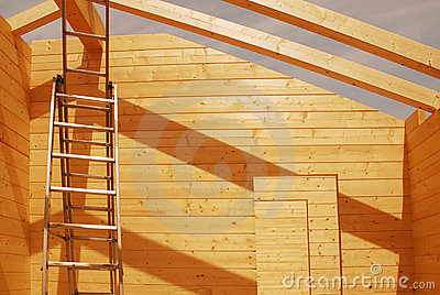 Ladder in Partially Constructed Wooden House