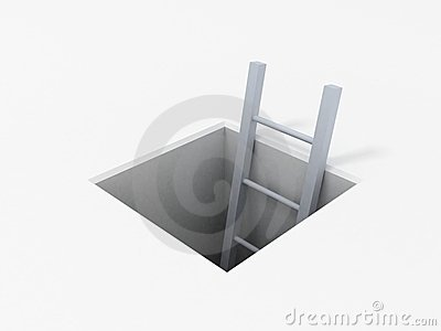Ladder in square hole over white background