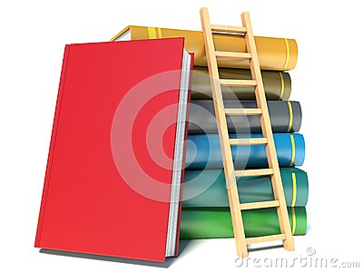 A ladder on stack of books
