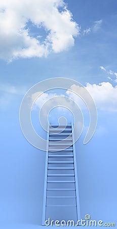 Ladder to sky. Success. 3d illustration